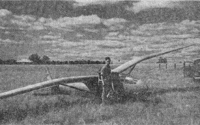 Harry Ryan with the Gull sailplane circa 1945
